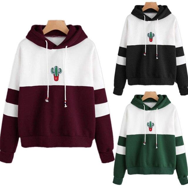 9e8732aa82 New Fashion Womens Hoodies Sweatshirt Ladies Pullover Casual Cactus Jumper  Coat Tops Hoodies