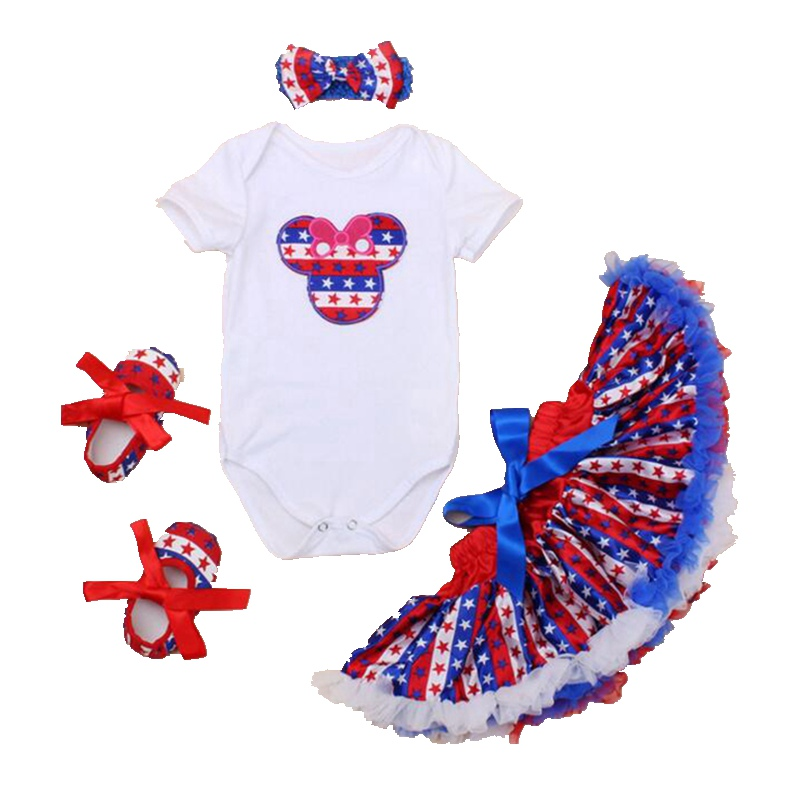 Blue Star Print Fourth Of July Baby Girl Outfits Minnie Newborn Bodysuit Bow Headband Lace Skirt Set Baby Jumper Infant Clothes  недорого