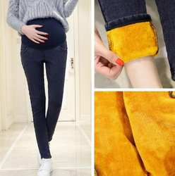 Теплый толстый Беременность джинсовые штаны Зимние флисовые джинсы для беременных женские с бархатом для беременных брюки плюс Размеры 3XL