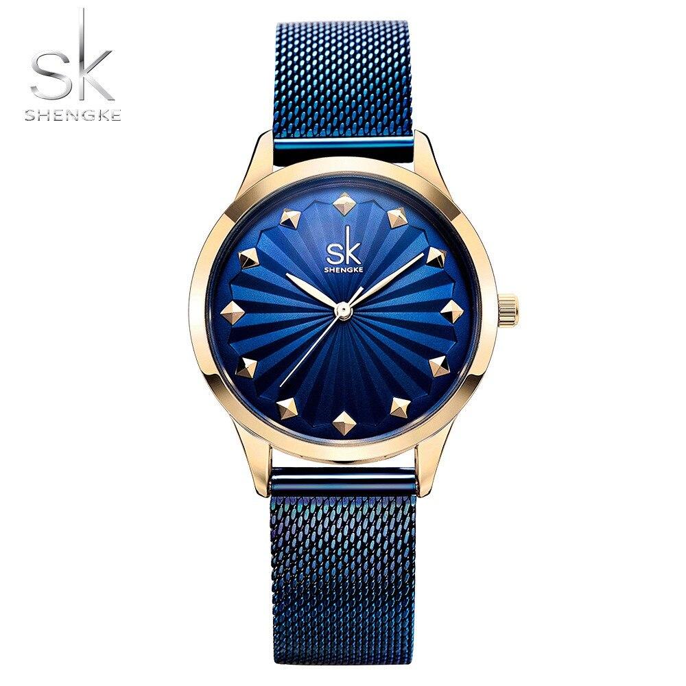Shengke Wrist Watch Women Fashion Stainless Steel Quartz