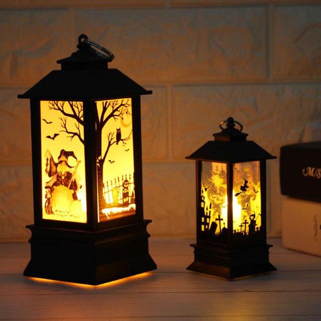 2018 Halloween Pumpkin Light Lantern Artificial Flame Small Oil Pumpkin Printed Lamp For Home Bar School Halloween Decoration