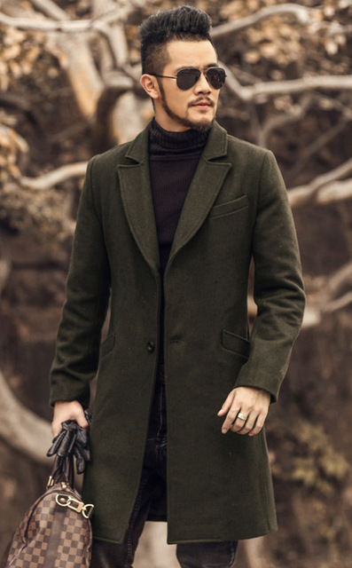 British style Mens army green Wool Trench Coat men Long Trench Slim Fit Overcoat Casual Single Breasted Long Trench Coat Jacket
