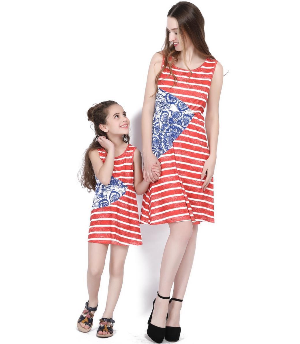 2017 Mutter Tochter Kleider Familie Passenden Outfits Ärmelloses Gestreiften Knie-länge Mama Und Mich Kleidung Vintage Kleid Flagge Tag