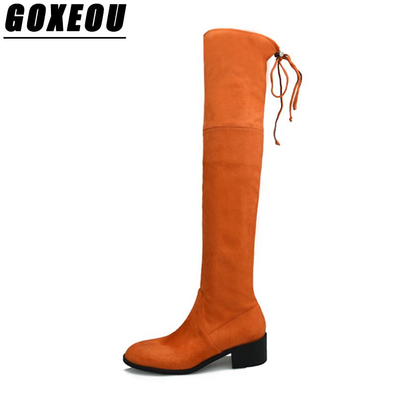 GOXEOU Ladies Knee Thigh High Boots Sexy Womens Winter Boots Casual Fashion High Heels Shoes Woman Brand Women High Heel Shoes
