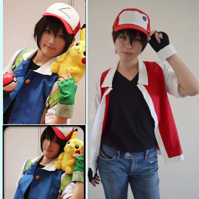 Anime Pokemon Ash Ketchum Cosplay Custom size Hat+Coat+Gloves Free Shipping Red and Blue color to choose