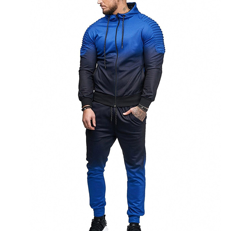 Zogaa Hot Men Tracksuit Sport Set 3d Print Striped Shirt Long Sleeve Fitness Pants Running Suit Jacket Trousers Men Sweat Suit