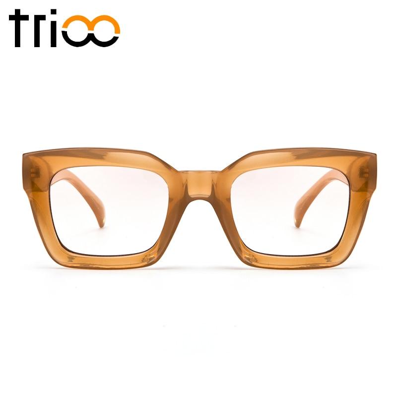 TRIOO Hochwertige Quadratische Brille Klare Linse Brillenfassungen Transparente Farbe Brillenzubehör Mode Männer Brillenfassung
