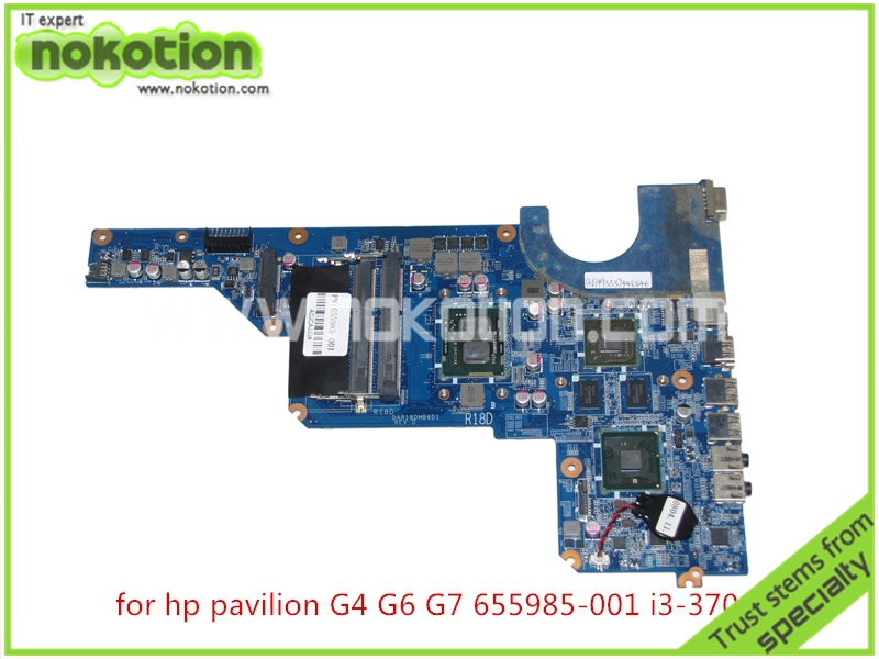 NOKOTION 655985-001 Laptop mainboard For HP Pavilion G4 G6 G7 intel HM55 DDR3+Core i3-370M GT520M DAR18DMB6D1 REV D Mainboard nokotion 653087 001 laptop motherboard for hp pavilion g6 g6 1000 with hm55 i3 370m mainboard full tested