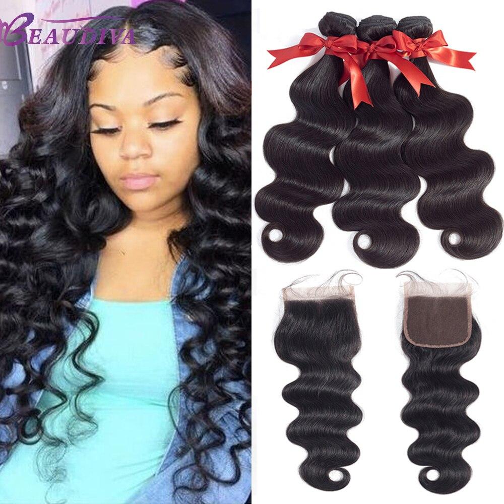 BEAUDIVA onda del cuerpo del pelo paquetes con 4*4 del encierro del cordón del pelo brasileño paquetes armadura 3 piezas paquetes de pelo humano con cierre