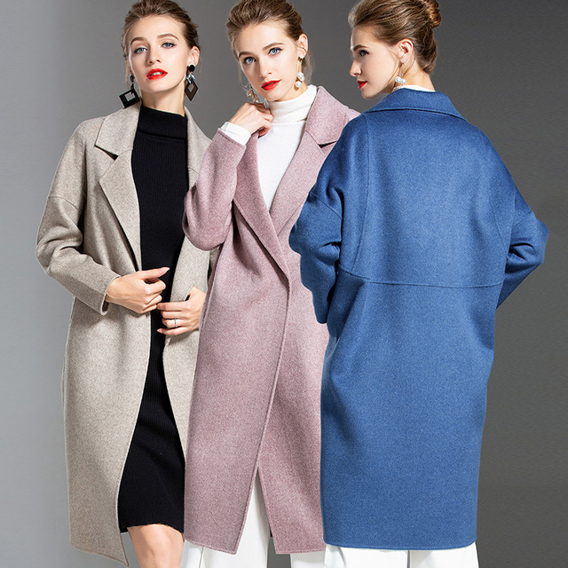 58735804ee9 US $185.66 |Jog Mcerg Cashmere Wool Coat Female 2018 Autumn Winter Large  Size Double Sided Handmade High End Wool Coat Thick Overcoat Women-in Wool  & ...