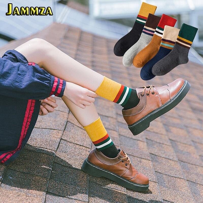 Japan Harajuku Red Green Stripe Women Socks For Autumn Patchwork Solid Fashion College Style Girl's Socks Vintage Casual Sokken