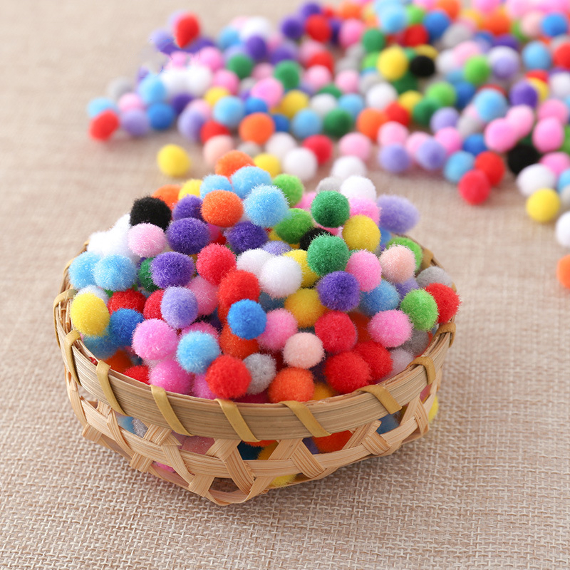 1200Pcs/bag Colorful Soft Round Fluffy Craft Felt Balls PomPoms Ball Mixed Color Poms 10mm DIY Craft Arts And Crafts For Kids(China)
