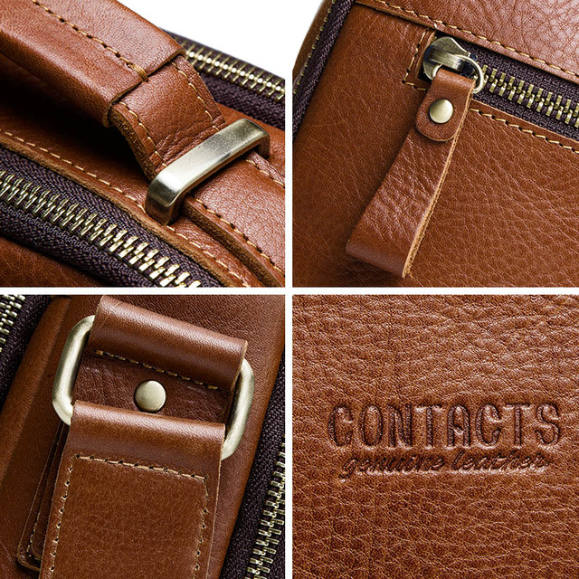 CONTACT'S casual men's messenger bags genuine leather shoulder bags for man luxury brand male crossbody bag fashion for ipad 4