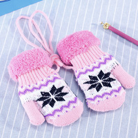 2 Pairs Winter Warm Keeping Children Gloves Cotton Thread And Plush Knitting Cover Fingers Gloves With Lanyard