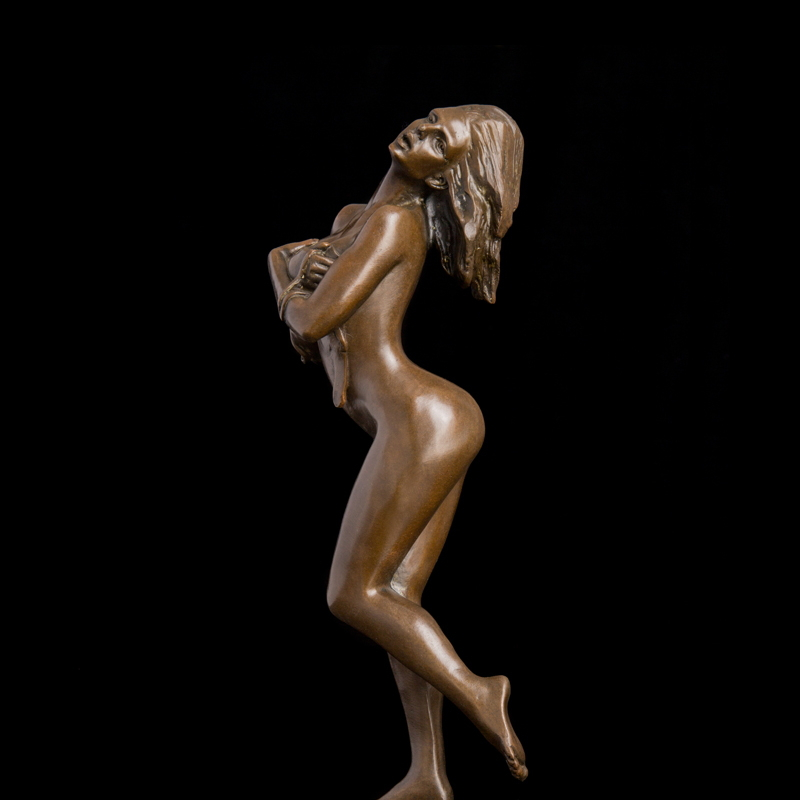 ATLIE BRONZES Arts Sculpture Western Lady Bronze Figurines Sexy Nude Girl Strip Statue Art Home Decoration