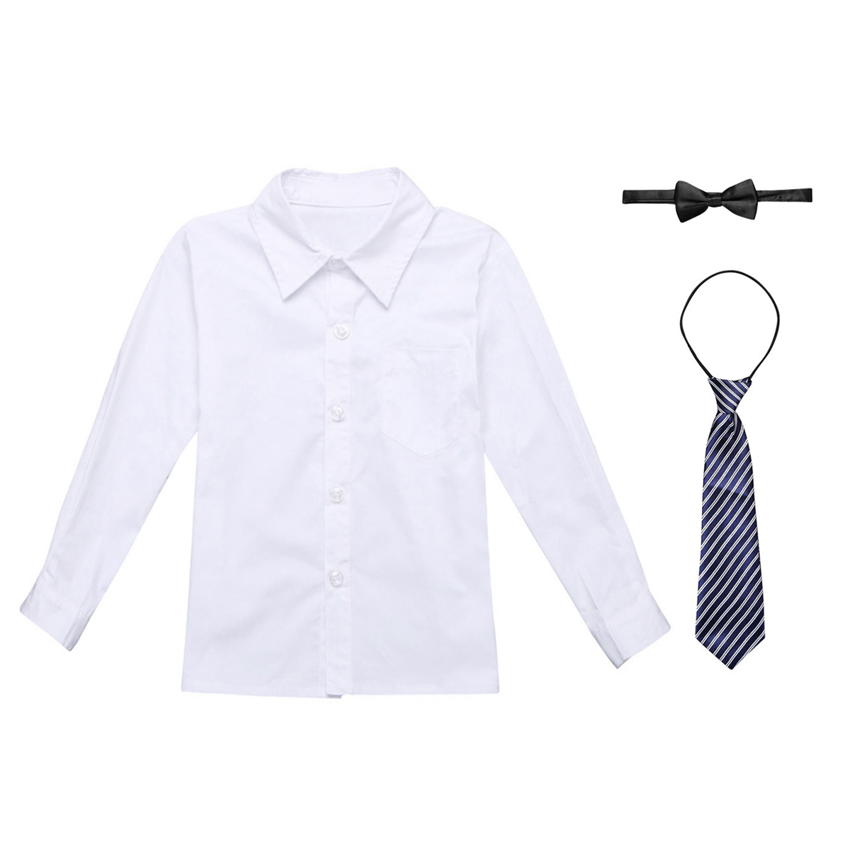 1c1b8199f87e Kids Boys School Uniform Outfit Long Sleeves Lapel Button Down Shirt with  Necktie and Bowtie Set SZ 4 14-in Shirts from Mother & Kids on  Aliexpress.com ...
