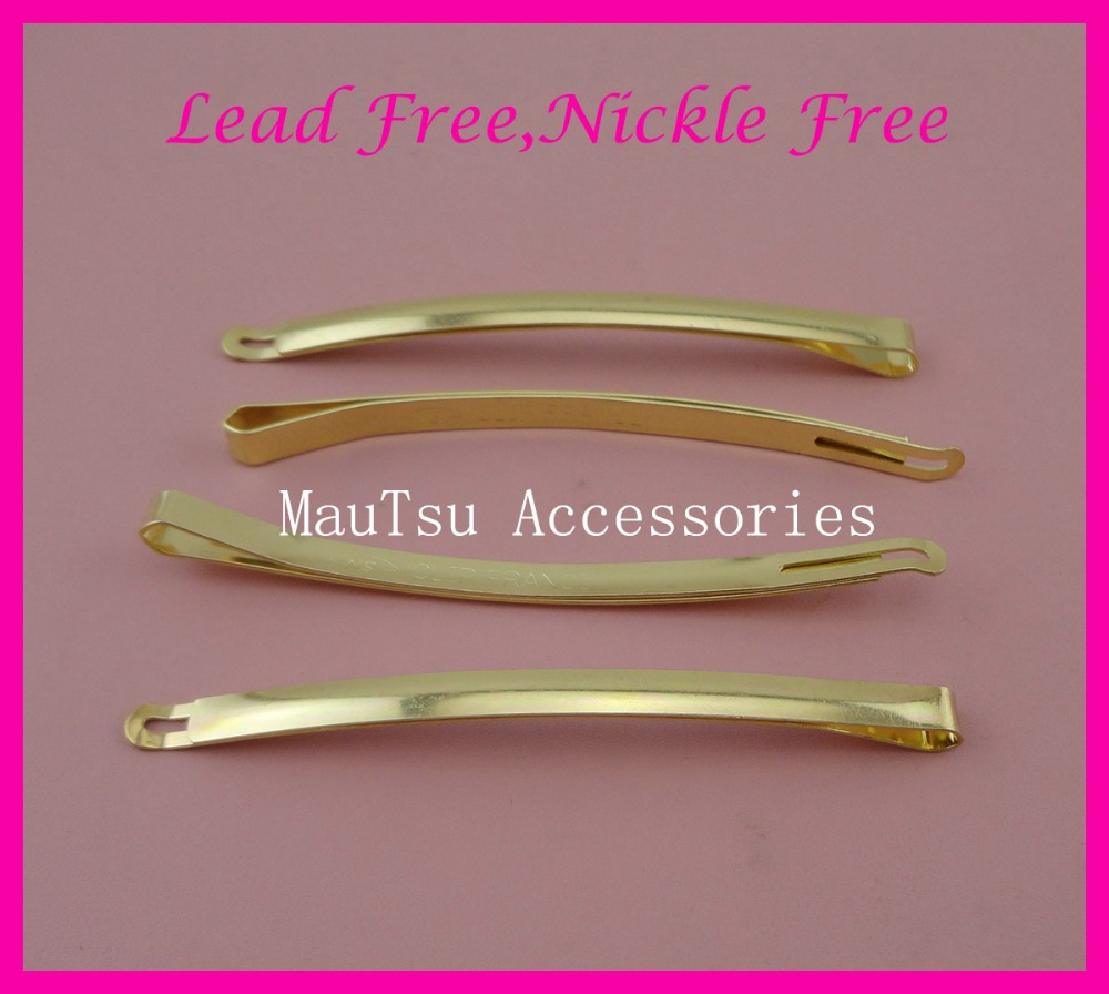 10PCS 5mm*9.0cm 3.5 golden arc-shaped plain Metal Bobby Pins,hair slide barrettes Lead Free,Nickle Free