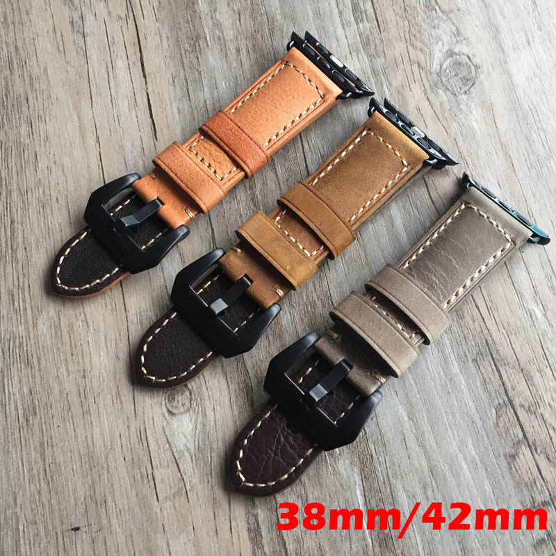 Yellow Genuine Leather watchband watch Accessories Bracelet wristband for iwatch apple watch strap 38mm apple watch band 42mm istrap black brown red france genuine calf leather single tour bracelet watch strap for iwatch apple watch band 38mm 42mm