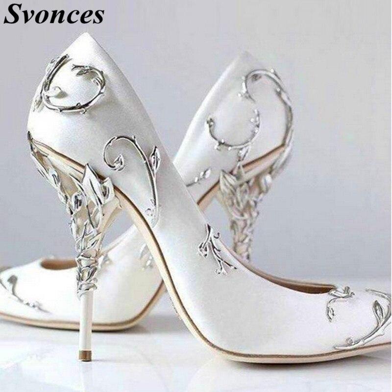 Svonces Luxury White Silk Women Pumps