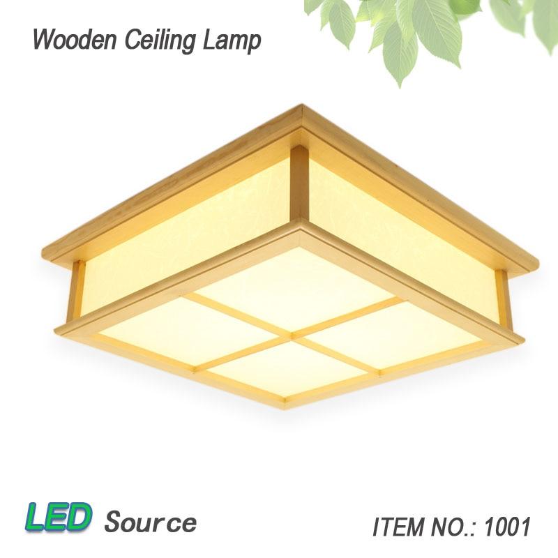 Wholesale Square 35/45/55cm Japanese Tatami Oak Wooden Led Ceiling Light Solid Wood Lighting for Home Decor Lamp lantern Fixture