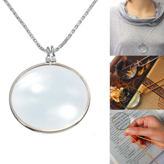 New silver gold color chain monocle necklace with 6x magnifier new silver gold color chain monocle necklace with 6x magnifier magnifying glass pendant for women men aloadofball Image collections