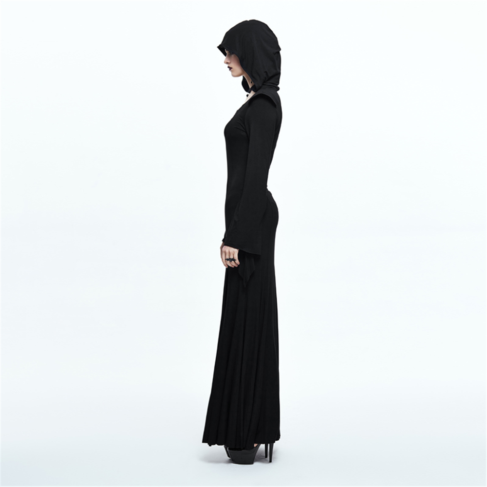 138c9c8040c Punk Witch Maxi Dress Black Long Sleeve Hoodie Dress Spring Side Split Sexy Long  Dress-in Dresses from Women s Clothing on Aliexpress.com