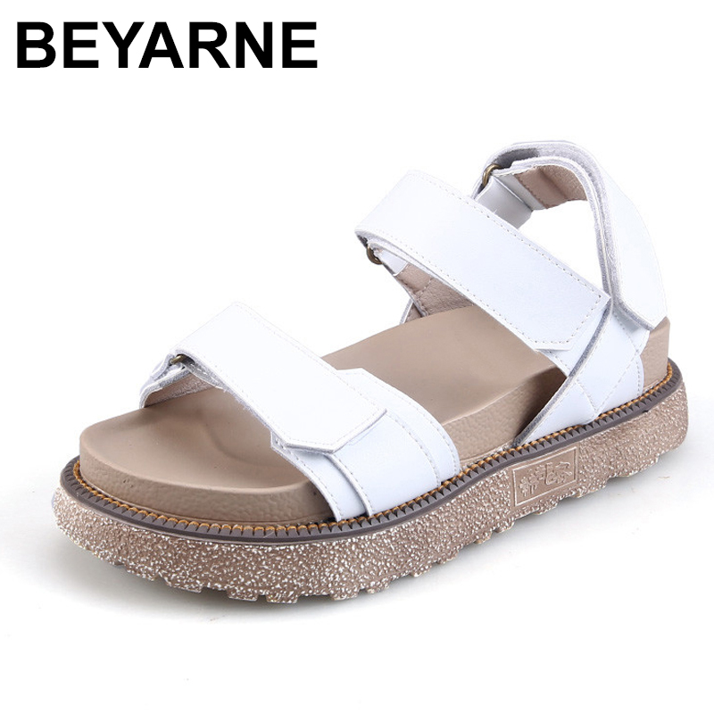 BEYARNE  2018 Summer Woman Sandals Platform Hook & Loop Leisure Shoes Solid Color Female Ladies Sandal Basic Comfortable Shoe BEYARNE  2018 Summer Woman Sandals Platform Hook & Loop Leisure Shoes Solid Color Female Ladies Sandal Basic Comfortable Shoe