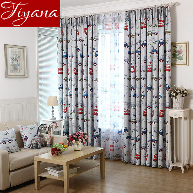 Cartoon Bus Cars Curtains Printed Sheer Voile Window Screen Yarn For Kids  Boys Bedroom Curtains Cloth