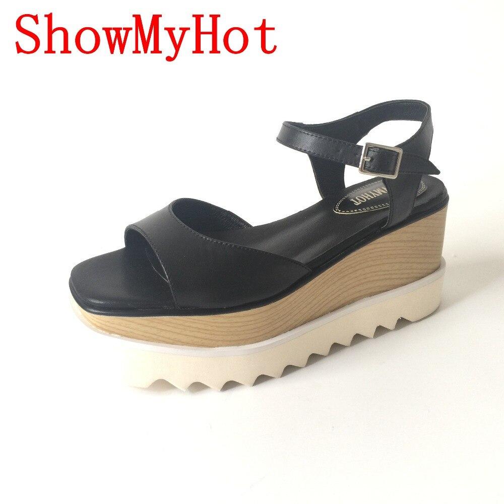 Showmyhot 봄 여름 새로운 별 플랫폼 신발 여성 웨지 진짜 가죽 크리퍼 신발 여성 moccasins 디자인 샌들-에서하이힐부터 신발 의  그룹 1