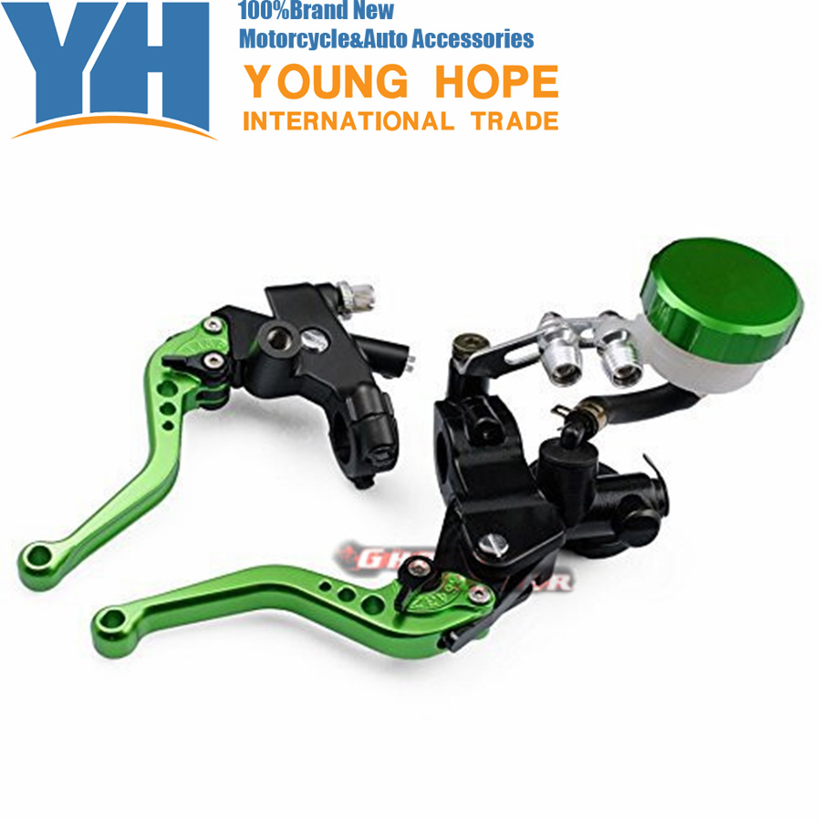 Green 7/8(22mm)  CNC Adjustable Brake Master Cylinder Fluid Reservoir Levers Kit fits for KAWASAKI ZX6R ZX636R ZX6RR 38mm cylinder barrel piston kit