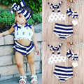 New Fashion Kids Girls Clothes Set Little Girl Summer Anchor Tops and Striped Briefs and Headband 3PCS Girls Clothing Sets 0-24M