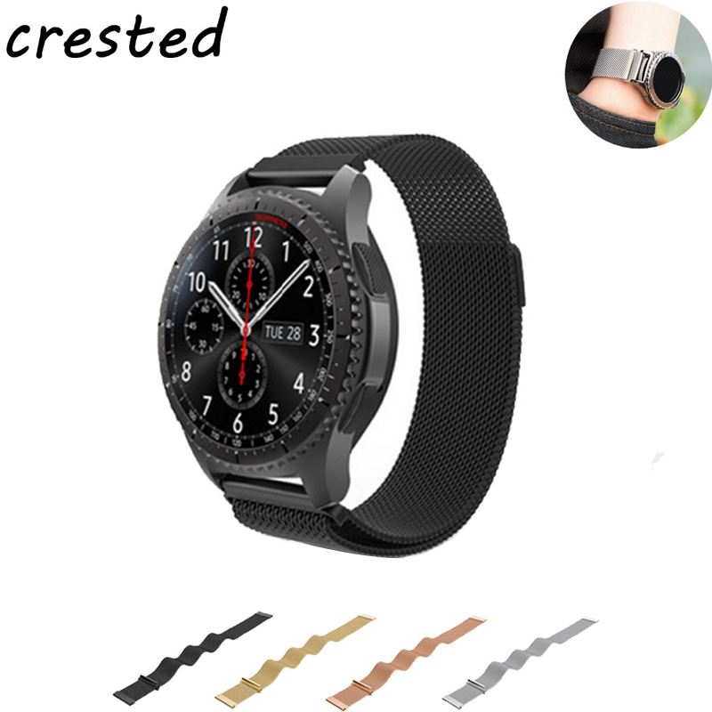 CRESTED 22m Stainless Steel band For Samsung gear s3 frontier/classic strap Milanese loop Magnetic Closure black watch strap смарт часы samsung gear s2 black