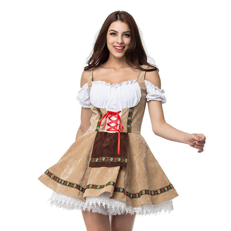 S-3XL German Oktoberfest Wench Waitress Maid Costume Bavarian Beer Girl Dirndl Fancy Dress For Adult Women Halloween Costume