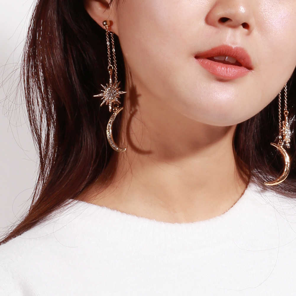 Fashion Rhinestone Star Crescent Moon Dangle Long Drop Earrings Women Jewelry Long Hanging Earings Fashion Jewelry New Arrival
