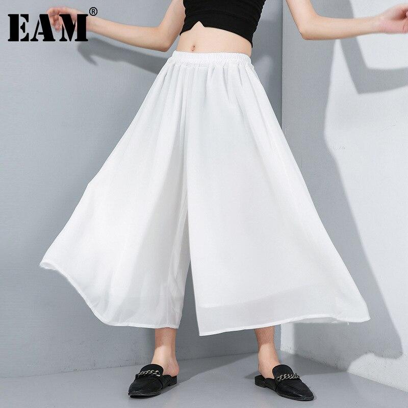 [EAM] 2020 New Spring Autumn High Elastic Waist Brief Thin Solid Loose Chiffon Wide Leg Pants Women Trousers Fashion Tide JY349