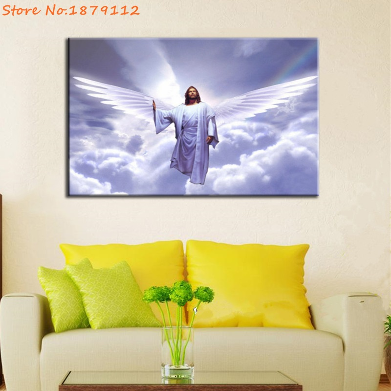 Purple Sky Angel Mercy Jesus Canvas Print Poster Pictures Wall Art ...