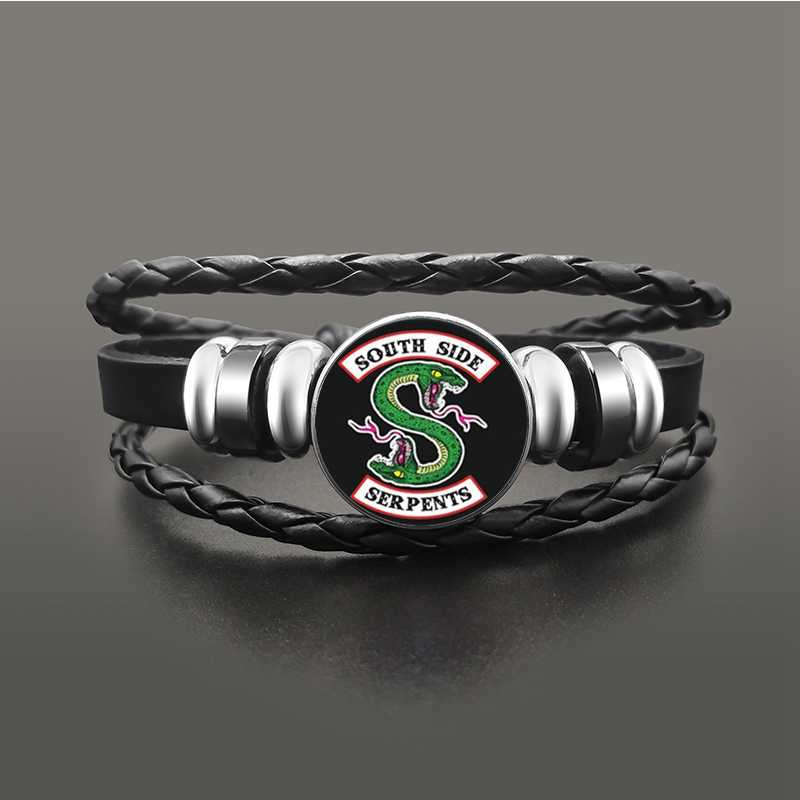 TV Riverdale South Side Serpents Black Leather Bracelet Jeweley Glass Dome Button Snaps Bracelets Punk Wristband Accessories