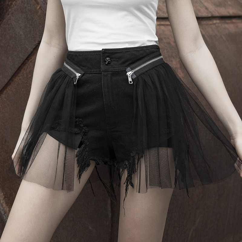PUNK RAVE New Girls Detachable Mesh Gothic Punk Short Jeans Female Hole Irregular Black Sexy Loose Fake Two Pieces Summer Shorts