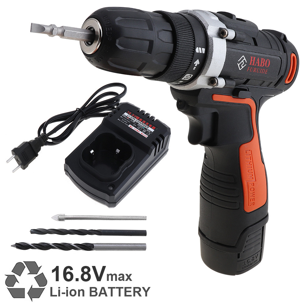 Cordless 16 8V Electric Drill Screwdriver Rechargeable Lithium Battery Power Tools with 15 Gear Torque and