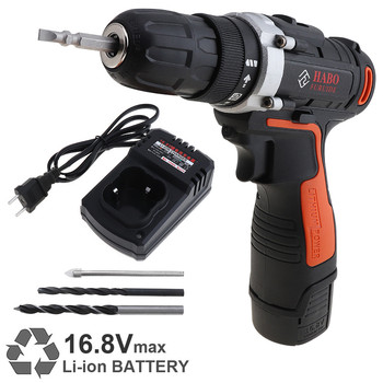 Cordless 16.8V Electric Drill Screwdriver Rechargeable Lithium Battery Power Tools with 15 Gear Torque and Two-speed Adjustment
