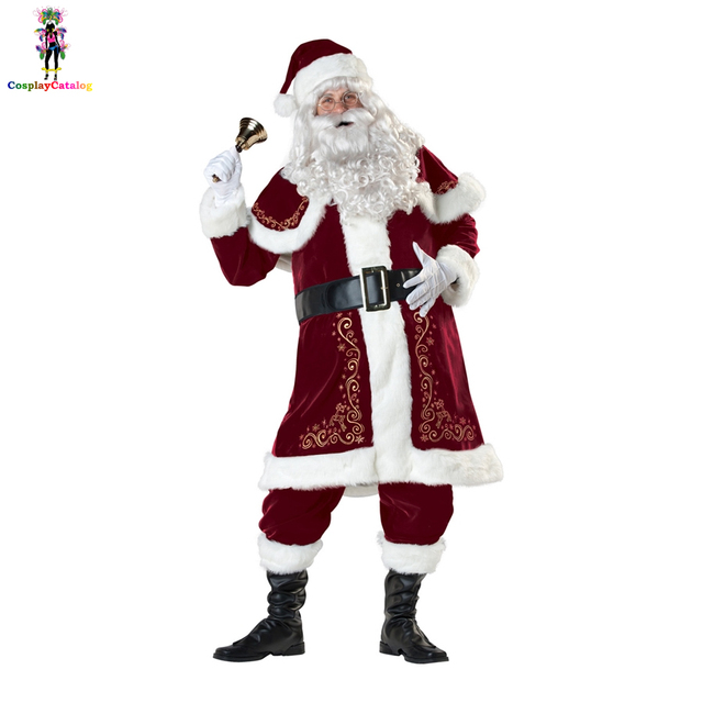 fa8dd0e22852 Plus Size Victorian Santa Costume Claus Suit Deluxe 7pcs Mens Father  Christmas Xmas Fancy Costumes Halloween Luxury Uniforms