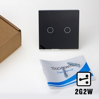 EU 2 Gangs 2 Way Touch Switch Wall Light Switches Smart Home Automation Crystal Glass Panel