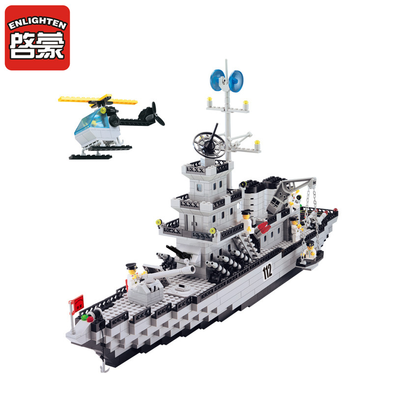 ENLIGHTEN City Military Navy Patrol Warships Destroyer Battleship Building Blocks Sets Bricks Model Kids Toys enlighten building blocks navy frigate ship assembling building blocks military series blocks girls