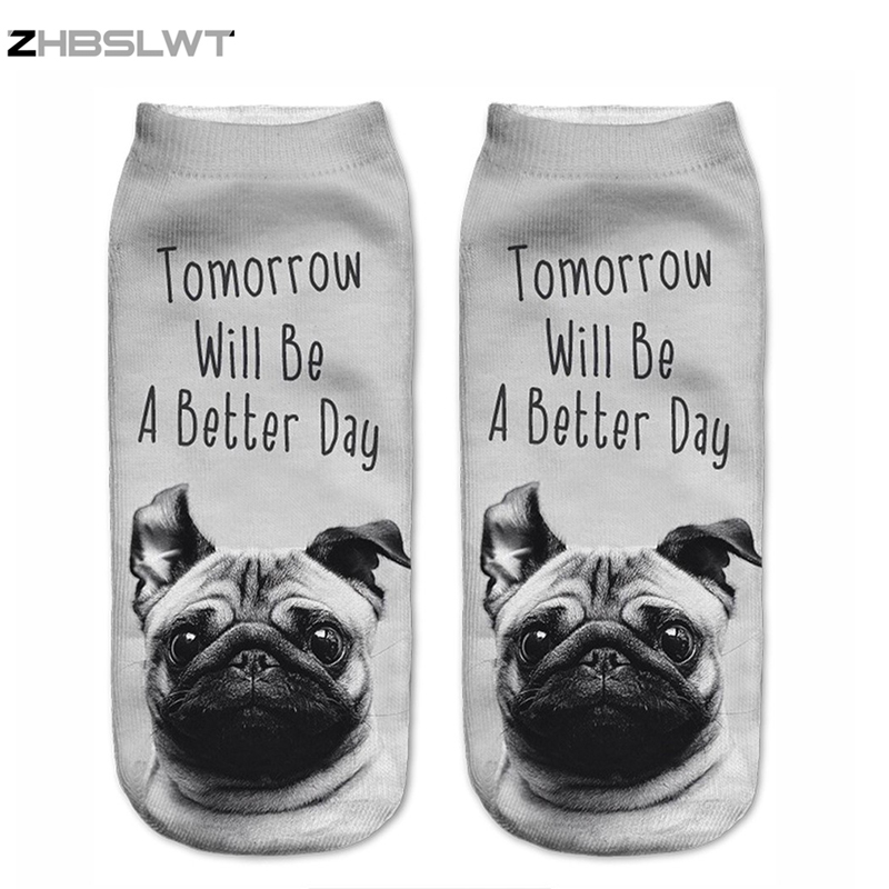 ZHBSLWT New 3D Printed Dog Tomorrow Day Women Socks Cute Low Cut Ankle Sock Multiple Colors Fashion Style -11