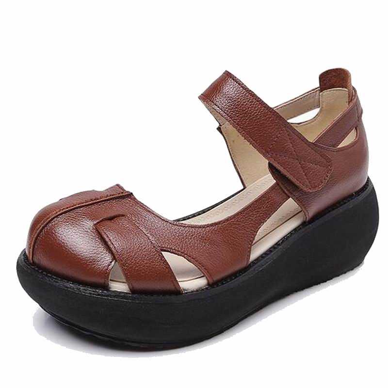 GKTINOO 2020 letnie wygodne sandały damskie okrągłe toe rekreacyjne buty szpilki kliny sandały platformy buty skórzane sandały