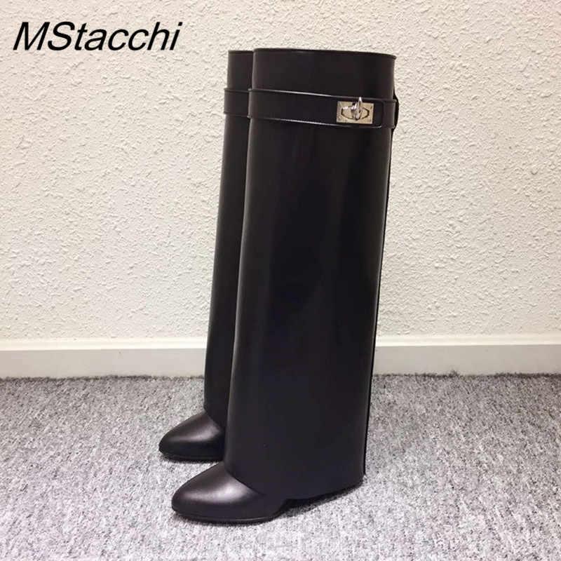 MStacchi Kama Köpekbalığı Kilit Kadın Diz Yüksek Çizmeler Slip-on Üzerinde Bayan Motosiklet Botları Yüksekliği Artan Kadın Hakiki Deri çizmeler