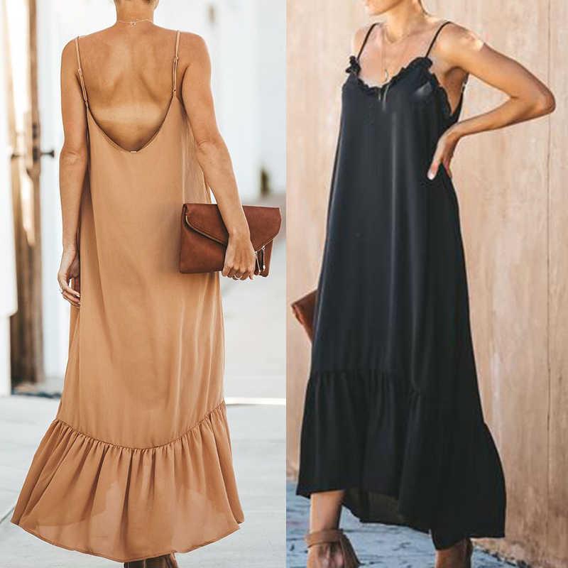 Femmes robe nouilles bretelles lâche décalage Maxi robe col en v volant dos nu dames robe