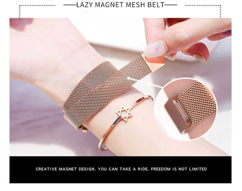 Роскошные розовое золото Для женщин часы моды алмаза женский, сетчатый магнит часы с возможностью погружения на глубину до 30 м Водонепроницаемый женские наручные часы 2019