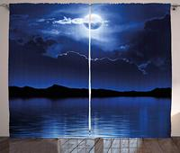 밤 커튼 판타지 달과 구름 진정 물 바다 극적인 흐린 어두운 하늘 거실 침실 창 장식