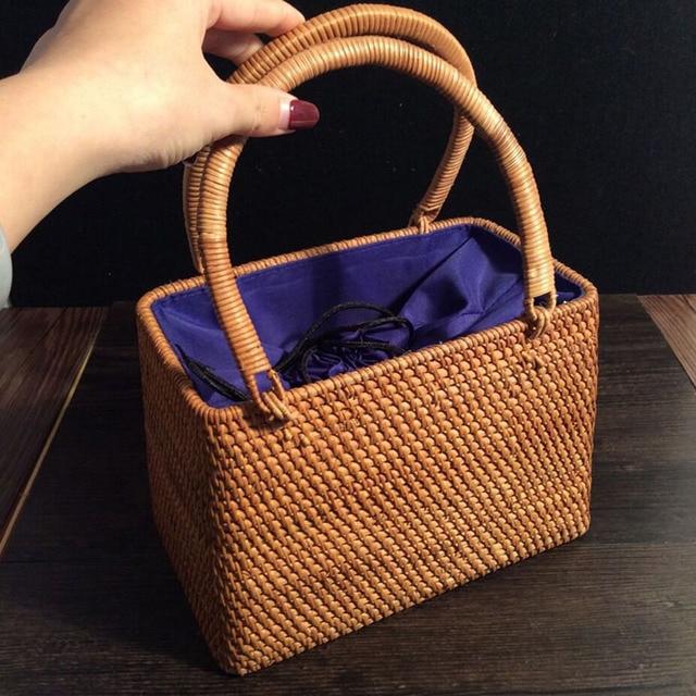 2019 Fresh Handbag storage basket retro Vintage Rattan Knitted Woven Basket Handmade portable multifunction Totes natural basket